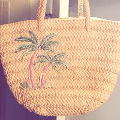 Women's straw beach bag with embroidered Palm Cute straw beach bag with green polka dot lining and pink and green embroidered palm tree.  Great for summertime beach trips with the kids or a nice splurge for that summer vacation Bags Totes