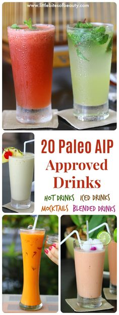 20 Paleo AIP Compliant Drinks To Spice Up Your Life! Little Bites of Beauty - Paleo Rezepte Dieta Aip, Autoimmune Diet, Autoimmune Paleo Recipes Thyroid, Blended Drinks, Anti Inflammatory Recipes, Healthy Drinks, Paleo Alcoholic Drinks, Healthy Recipes, Spice Things Up