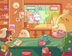 """""""chi& soda shop is every adventurer& first stop back in town but don& ask what monster parts they put in their wholesome looking smoothies"""" Arte Do Kawaii, Kawaii Art, Cute Animal Drawings Kawaii, Cute Drawings, Aesthetic Art, Aesthetic Anime, Game Art, Posca Art, 8bit Art"""