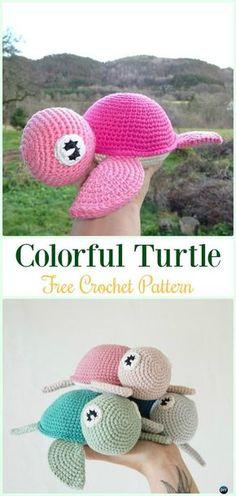 Amigurumi Crochet Colorful Turtle Free Pattern - #Crochet; #Turtle; Amigurumi Toy Softies Free Patterns