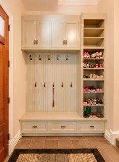 shoe cabinet ideas Closet Traditional with Fitted Furniture Shoe . Home Renovation, Home Remodeling, Mudroom Laundry Room, Shoe Storage Mudroom, Entry Closet, White Paneling, My New Room, Home Projects, Room Inspiration