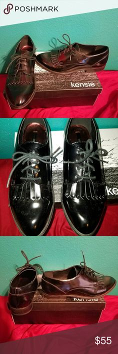 Kensie Peyton oxford with fringe Super cute black patent leather looking lace ups with fringe at the toe. Super cute. New with box. Kensie Shoes Flats & Loafers