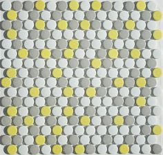 Here Comes the Sun Penny Tile Round Mosaic Blend by Lyric POP Porcelain at MosaicTileSupplies.com