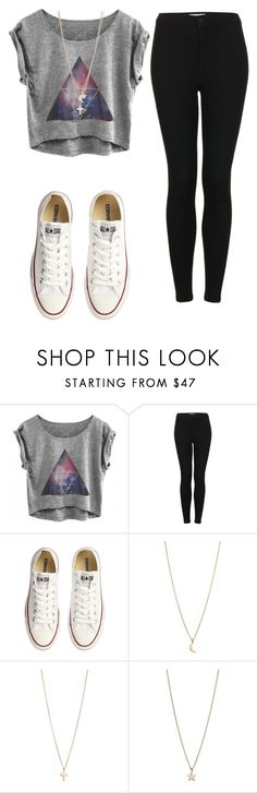 """Sem título #144"" by heslovely ❤ liked on Polyvore featuring Topshop, Converse and Minor Obsessions"