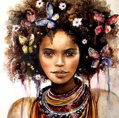 @clodiatremblay    Curly hair art. afro hair art. natural hair art. black girl…