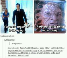Can I just point out the Face of Boe can't (logically) be Jack? FoB's eyes are greenish. Jack's are blue. FoB doesn't flirt with the *cat lady nurse nuns*. Jack totally would, it's his *thing*. FoB dies. And stays dead. Jack doesn't stay dead. Ergo, Jack cannot be the Face of Boe.