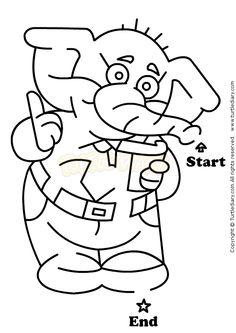 Elephant Maze - science Worksheets - preschool Worksheets