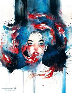 As belas e surreais pinturas e aquarelas com mulheres de Hieu a.k.a. Kelogloops