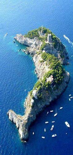 WOW.. Cette île en forme de dauphin se trouve en Italie ! Magnifique !