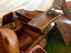 All different types of wooden dough bowls