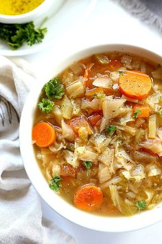 Hearty cabbage soup diet recipe slowly cooked in the slow cooker. Known as the popular Dolly Parton Diet or Stewardess Diet. Chop, dump, wait, eat!