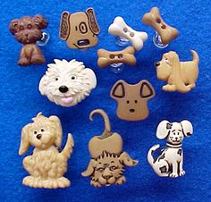 """Dogs Decorative Push Pins, Code 5739, Dog Days Decorative Push Pins for Cork Bulletin Boards. Set of 11. Approx. 1/2"""" to 1/1/2"""", $8.95 URL http://www.pushpinsandfabriccorkboards.com/dog-days-decorative-push-pins-for-cork-bulletin-boards.html"""
