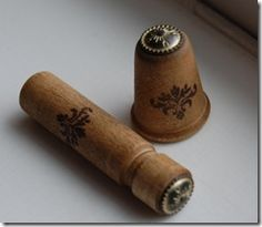wooden needle case and thimble