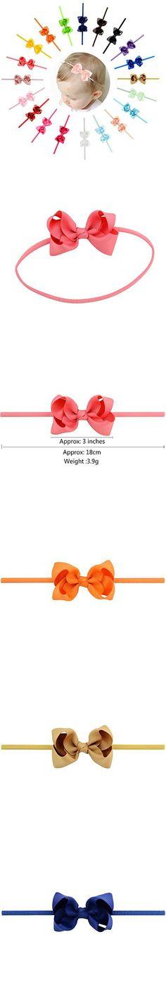 "YHXX YLEN 20Pcs Baby Girls 3"" Grosgrain Ribbon Boutique Hair Bow Elastic Headbands (Style 4)"