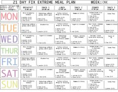 This is the perfect place to start when planning your meals for the 21 Day Fix Extreme! Using an organized calendar will get you off to the perfect start.  For recipes, health and fitness tips, and more.  Visit my site at www.facebook.com/everafterfitnesskathryn www.beachbodycoach.com/kplotkin