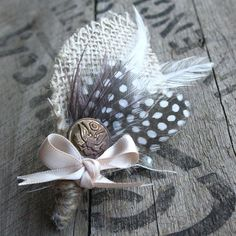 Vintage Feather Boutonniere  Custom by carmenwestcreative on Etsy, $18.00