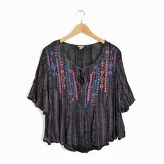 ECOTE Urban Outfitters Embroidered Boho Peasant Blouse Tribal GeometricTop - L #Ecote #Blouse