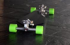 Sexiest longboard you've ever seen? If not then you should be ashamed of yourselves. The Downhill Machine isn't your conventional longboard. With the adjustability of a race car packed into a… Longboard Design, Longboard Decks, Skateboard Design, Skateboard Art, E Skate, Skate Decks, Drift Trike, Cool Deck, Electric Skateboard