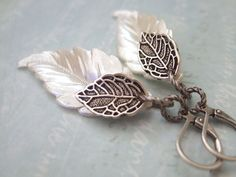 IVORY vintage lucite pearly white leaf charm with antique silver plated leaf charm earrings
