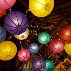 You know it's summer when the brights come out! Rainbow Wedding, Summer Wedding, Ceiling Decor, Paper Lanterns, Coming Out, Wedding Decorations, Wedding Inspiration, Bright, Events