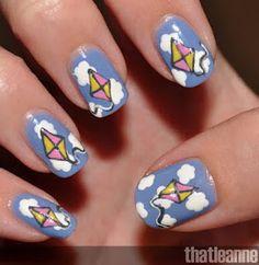 Kite nail art. Cute!