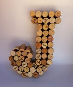 """""""J"""" made out of corks"""