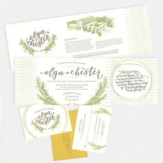 "Brides: A Rustic Wedding Invite with Calligraphy. ""Italian Rosemary"" invitation, from $1,800 for 100, Ashley Buzzy McHugh"
