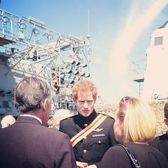 Prince Harry on HMS Bulwark this morning meeting descendants of those who fought in the Gallipoli Campaign #Gallipoli100