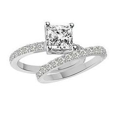 1.15Ct Bridal Princess Cut Diamond Engagement Ring Set 14K White Gold D/VVS1 # Free Stud Earring by JewelryHub on Opensky