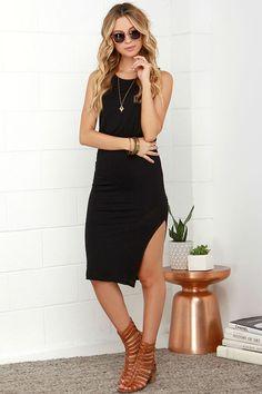 Walk On By Black Midi Dress at Lulus.com
