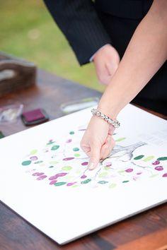 Thumb print guest book idea | Brides.com