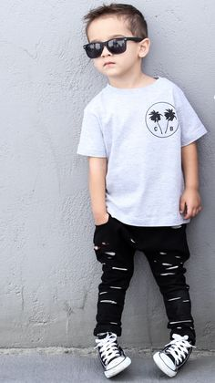 Black Distressed Harems for Kids & Toddler Fashion Boys Toddler Fashion Baby Outfits, Outfits Niños, Toddler Outfits, Kids Outfits, Jean Outfits, Summer Outfits, Little Boy Outfits, Tomboy Outfits, Fashion Outfits