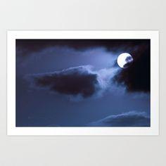 Moon Behind Cloud Art Print by Marisa Lopez-Cruzan - $22.88