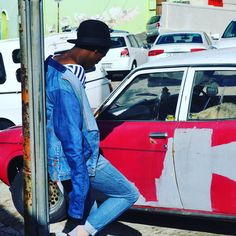 Lemon Cream Clothing Denim Pants jacket. This is the latest work of the founder of the Lemon Cream brand (Lebogang Kenneth Motsagi.) This shot was taken during the month of June 2016, during their search for inspiration around the city of Cape Town. Photographed by Jay Blxck Sheep.