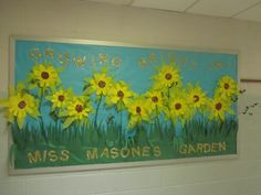 sunflowers: paper plates, tissue paper, and sticks painted green :)