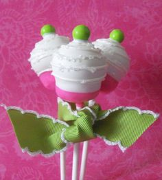 Hot Pink & Lime Green Cupcake Cake Pop