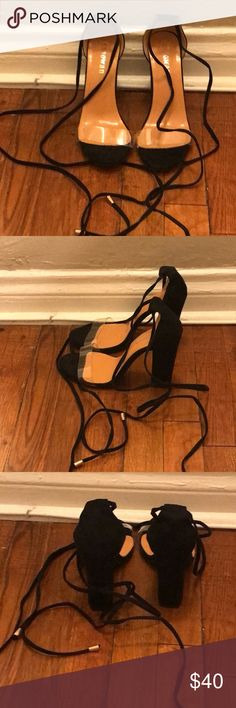 Black lace up heels Brand new black lace up heels Super comfortable  Suede material  With clear strap Shoes Heels
