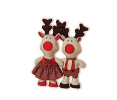 Reindeer Sewing Pattern PDF Stuffed Animal Red by RibizliDesign