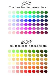 Color Chart- What colors to choose that go best with your skin tone. Great for choosing make-up and clothes .