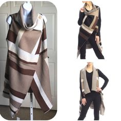 """1 HR SALE BROWN GEOMETRIC SHAWL Geometric pattern. Stand out with this piece as you stay warm. Sleeveless. Cowl neck with generous fitting bottom. Sleeve opening laying flat is 10"""". Colors vary from medium brown, beige and cream. Two buttons at the top crisscross to fasten. Acrylic. ⚫️NO TRADE. NO PAYPAL⚫️. (4) HP Sweaters Cowl & Turtlenecks"""
