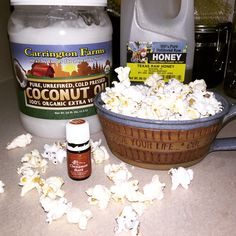 Cinnapop 1/4 cup coconut oil, 3 tbsp honey, 3-5 drops young living cinnamon oil and salt to taste plus big bowl of air popped popcorn. Melt coconut oil (on stovetop not microwave) once melted add honey and cinnamon oil and stir. The honey will settle at the bottom of the pan so use a spoon to dip out the honey with the oil and drizzle over the popcorn add salt then shake the bowl to distribute the oil mixture continue these steps until honey oil mixture is gone. Honey to taste! Best recipe…