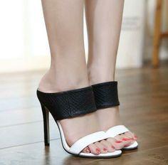 Femme Double Bretelles compensés à bout pointu Escarpins Stiletto High Heels Patent Chaussures en cuir S