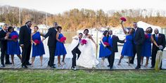 Bridal Party on the docks having a little fun! LOVE the colors!