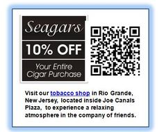 32 best cape may mobile qr coupon codes images on pinterest coupon seagars qr coupon cape may nj save your entire purchase visit our tobacco shop in rio grande nj located inside joe canals plaze to experience a relaxing fandeluxe Gallery