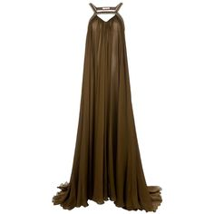 A fashion look from July 2013 featuring full length gowns, earring jewelry and long gold necklace. Browse and shop related looks. Brown Evening Dresses, Silk Evening Gown, Silk Gown, Low Back Dresses, Simple Dresses, Long Dresses, Dance Dresses, Dress Long, Drape Gowns