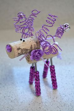 Wine Cork Reindeer Ornament by TheCorkForest on Etsy How cute is THAT! Any color.