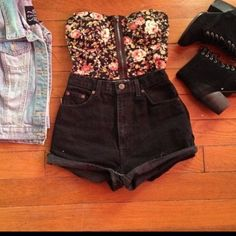 Summer Outfit : denim jacket with  a floral bralet black shorts and chunky boot heels<3