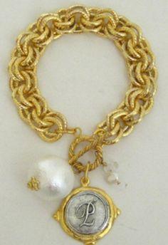 Hand cast Monogrammed Initial Bracelet at www.facebook.com/peachesandbeaches