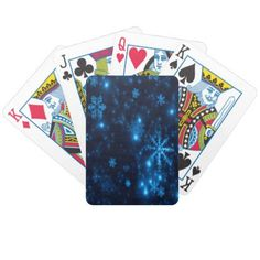 Deep Blue Bright Snowflakes Bicycle Playing Cards - diy cyo personalize design idea new special custom