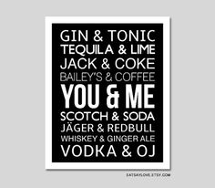 We go together like, valentine's day art, valentines day gift, anniversary gift, bar cart art, bar decor, alcohol wall decor, you and me on Etsy, $18.00
